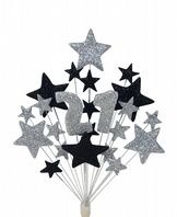 Number age 21st birthday cake topper decoration in silver and black - free postage